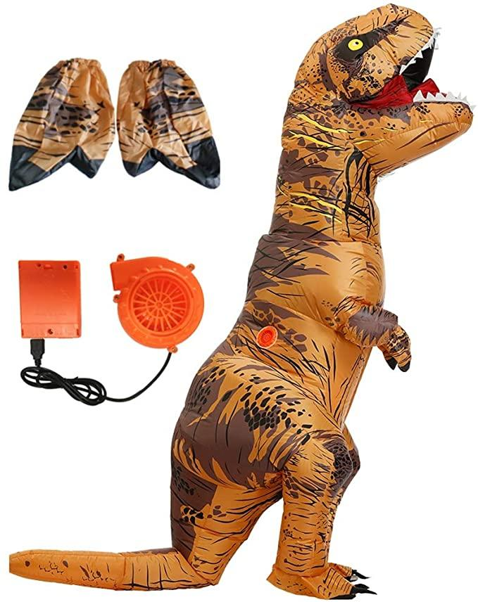 Product photo of Adult Inflatable Dinosaur Body Suit with feet covers and electric fan.