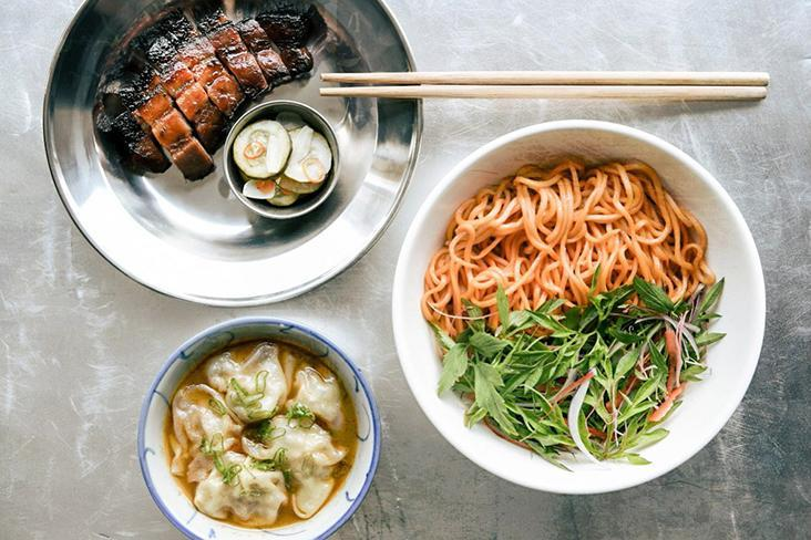 A flavourful meal at Fifty Tales (clockwise from top left): 'char siu' with in-house glaze; 'mee ulam' tossed in 'budu' and lacto-fermented chilli; and 'wonton rasam.' – Pictures courtesy of Fifty Tales