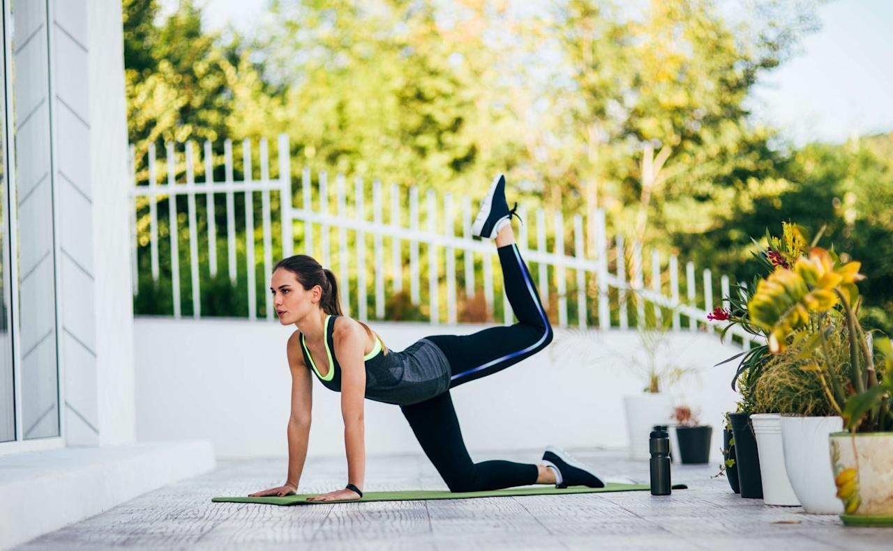"""<p>This muscle-building <a href=""""https://www.popsugar.com/fitness/Bodyweight-Leg-Workout-Build-Muscle-45922644"""" class=""""ga-track"""" data-ga-category=""""Related"""" data-ga-label=""""https://www.popsugar.com/fitness/Bodyweight-Leg-Workout-Build-Muscle-45922644"""" data-ga-action=""""In-Line Links"""">bodyweight leg and glute workout</a> is ideal for your first workout back. Once you get the hang of each move, check out the advanced options to up the intensity and continue challenging your muscles.</p>"""