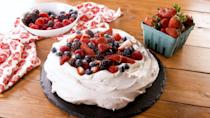 """<p>A giant meringue topped with whipped cream and berries, this baby is beautiful at any time of year.</p><p>Get the recipe from <a href=""""https://www.delish.com/cooking/recipe-ideas/a26845042/easy-pavlova-cake-recipe/"""" rel=""""nofollow noopener"""" target=""""_blank"""" data-ylk=""""slk:Delish"""" class=""""link rapid-noclick-resp"""">Delish</a>. </p>"""