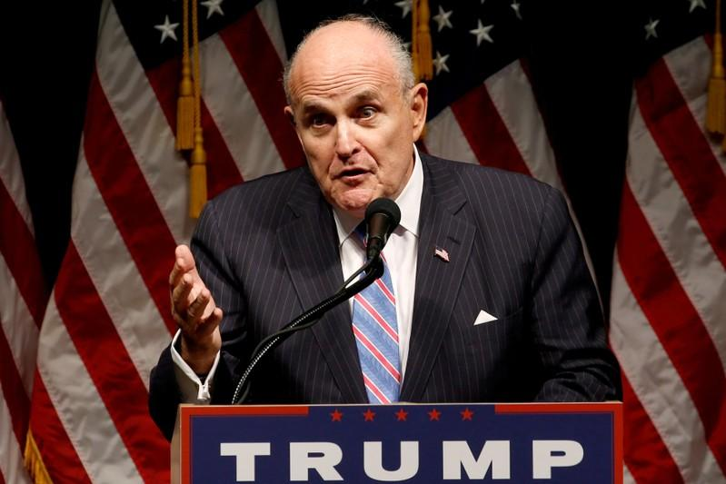 FILE PHOTO: Giuliani delivers remarks before Trump rallies with supporters in Council Bluff