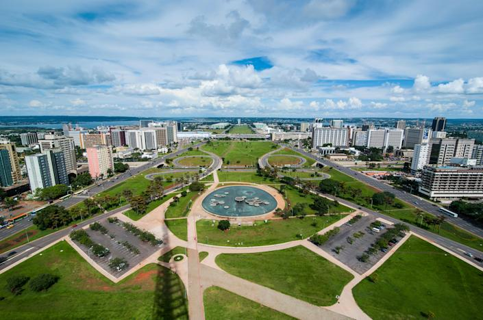 """<h1 class=""""title"""">View from the Television Tower over Brasilia, Brazil</h1> <div class=""""caption""""> An aerial view of Brasilia from the a television tower overlooking the city shows the work of landscape architect Roberto Burle Marx. </div> <cite class=""""credit"""">Photo: Alamy</cite>"""