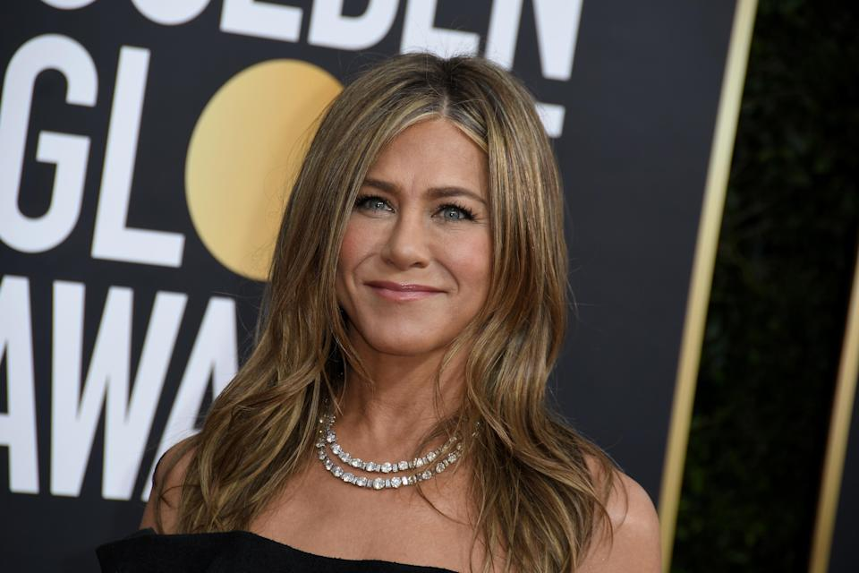 Jennifer Aniston arrives at the 77th Golden Globe Awards held at The Beverly Hilton Hotel on January 5, 2020 in Beverly Hills, CA. (Photo by Sthanlee B. Mirador/Sipa USA)