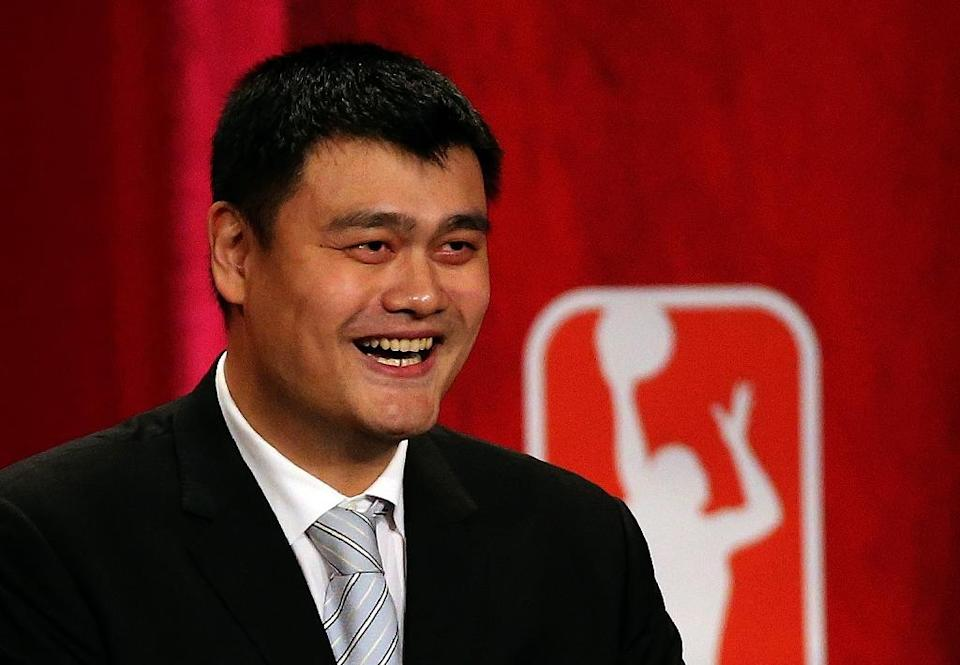 China's retired NBA star Yao Ming was inducted into the Hall of Fame in Springfield, Massachusetts, on September 9, 2016 (AFP Photo/Jim Rogash)