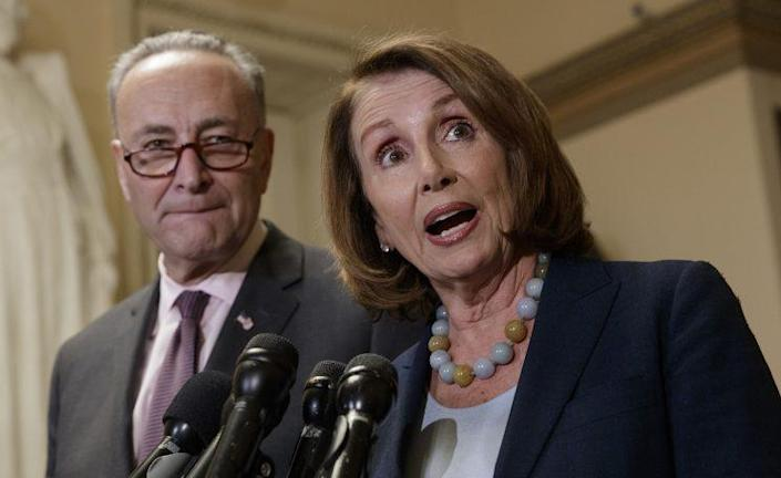 House Democratic Leader Nancy Pelosi of California, and Senate Democratic Leader Chuck Schumer of New York speak to reporters about the Congressional Budget Office projection that 14 million people would lose health coverage under the House Republican bill dismantling former President Barack Obama's health care law, on Capitol Hill in Washington, Monday, March, 13, 2017. (Photo: J. Scott Applewhite/AP)