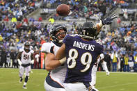 <p>Denver Broncos linebacker Josey Jewell #47 breaks up a pass to Baltimore Ravens tight end Mark Andrews #89 at M&T Bank Stadium on September 23, 2018 in Baltimore, MD. (Photo by Joe Amon/The Denver Post via Getty Images) </p>