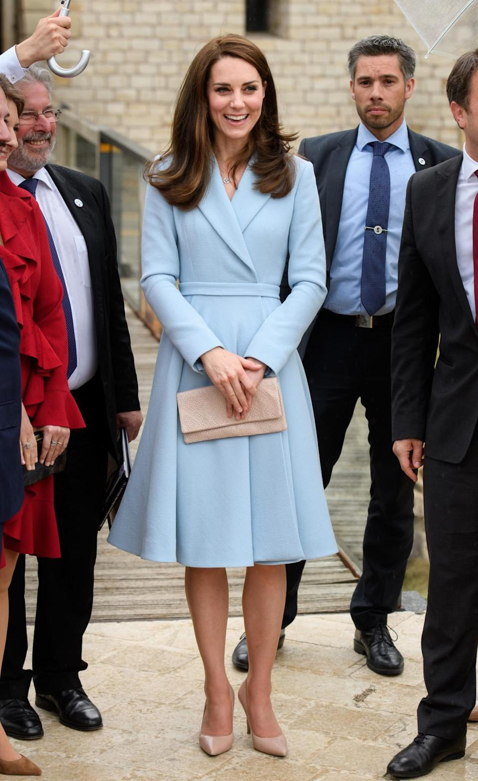 <p>Kate embarked on a solo trip to Luxembourg as part of Britiain's Brexit strategy. The Duchess chose a pale blue Emilia Wickstead coat dress featuring a pleated skirt and large collar. As usual, she teamed the look with nude satin heels and a matching clutch.<br><i>[Photo: PA]</i> </p>