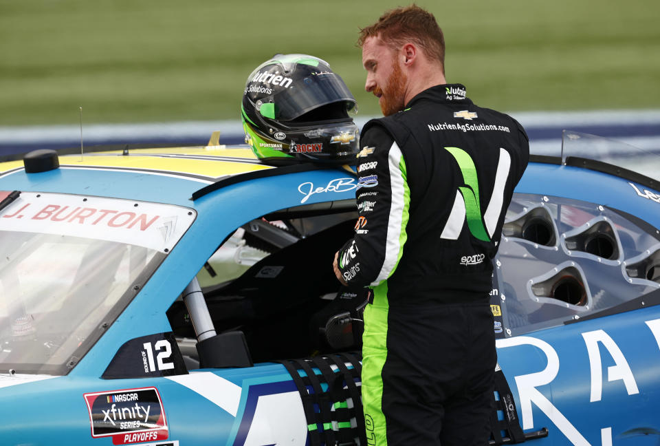 CONCORD, NORTH CAROLINA - OCTOBER 09: Jeb Burton, driver of the #10 Radiate Next Chevrolet, exits his car after the NASCAR Xfinity Series Drive for the Cure 250 presented by Blue Cross Blue Shield of North Carolina at Charlotte Motor Speedway on October 09, 2021 in Concord, North Carolina. (Photo by Jared C. Tilton/Getty Images) | Getty Images
