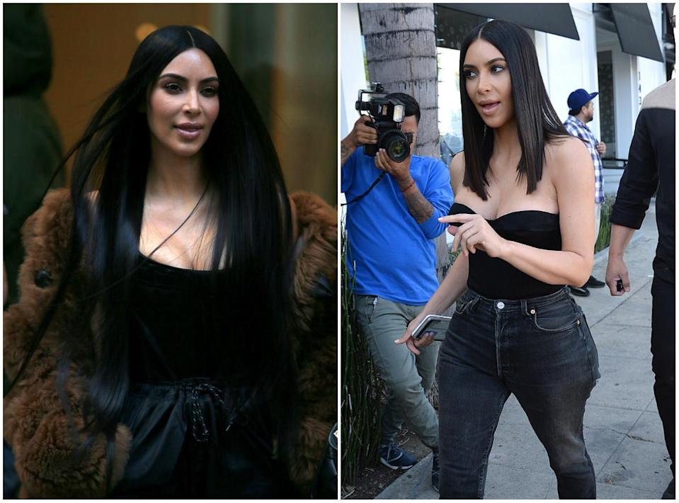 <p><b>When: March 30, 2017 </b><br>Kim Kardashian recently had her uber long hair extensions removed in favour of a natural shoulder-length lob– and we're absolutely loving the transformation! The brunette beauty was captured with the shorter 'do at Cuvée cafe on Robertson Blvd on Thursday. She rocked the outfit with mid-rise mom jeans and a black sleeveless crop top. Are you loving her lob as much as we do? <i> (Photos: Getty (L)/Splash News (R) </i> </p>