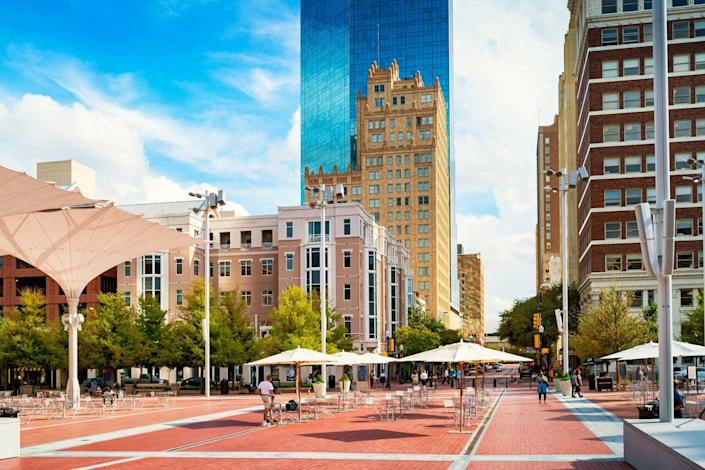 Sundance Square Plaza in downtown Fort Worth, Texas