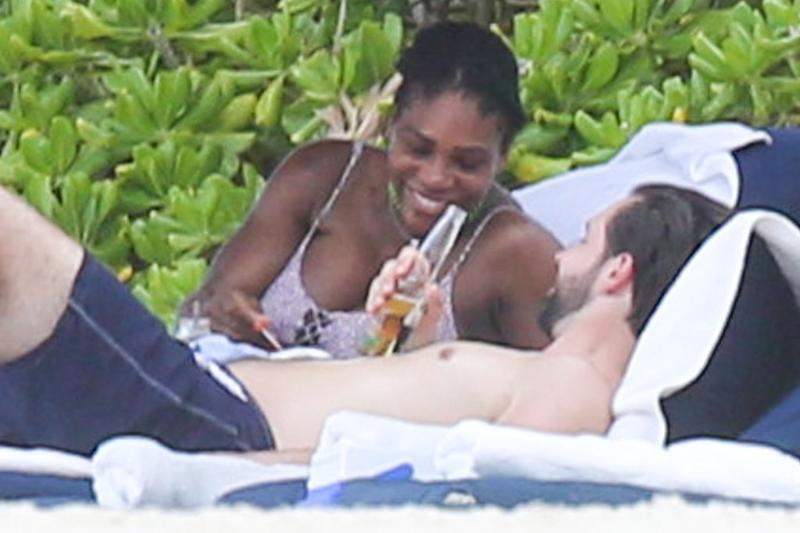 Serena Williams and Alexis Ohanian cozy up on the beach.