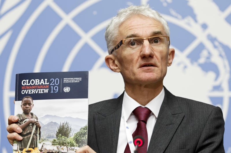 "Mark Lowcock, UN Under-Secretary-General for Humanitarian Affairs and Emergency Relief Coordinator, speaks during a press conference about the launch of the ""Global Humanitarian Overview 2019"" and ""World Humanitarian Data and Trends 2018"" flagship reports, at the European headquarters of the United Nations in Geneva, Switzerland, Tuesday, Dec 4, 2018. (Salvatore Di Nolfi/Keystone via AP)"