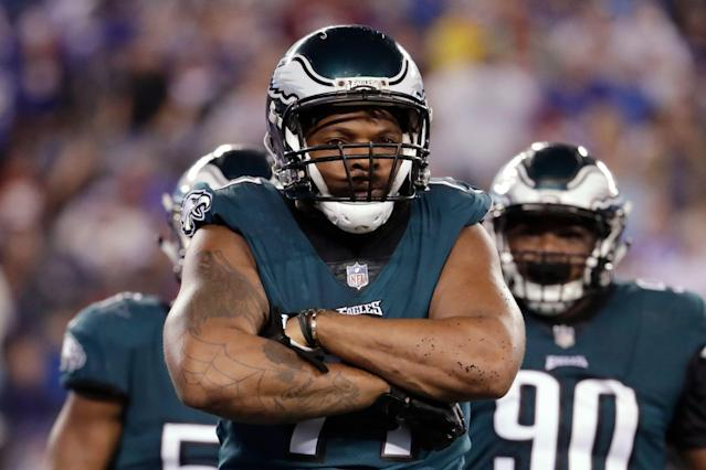 Michael Bennett could be on the move from the Eagles to the Patriots. (AP)