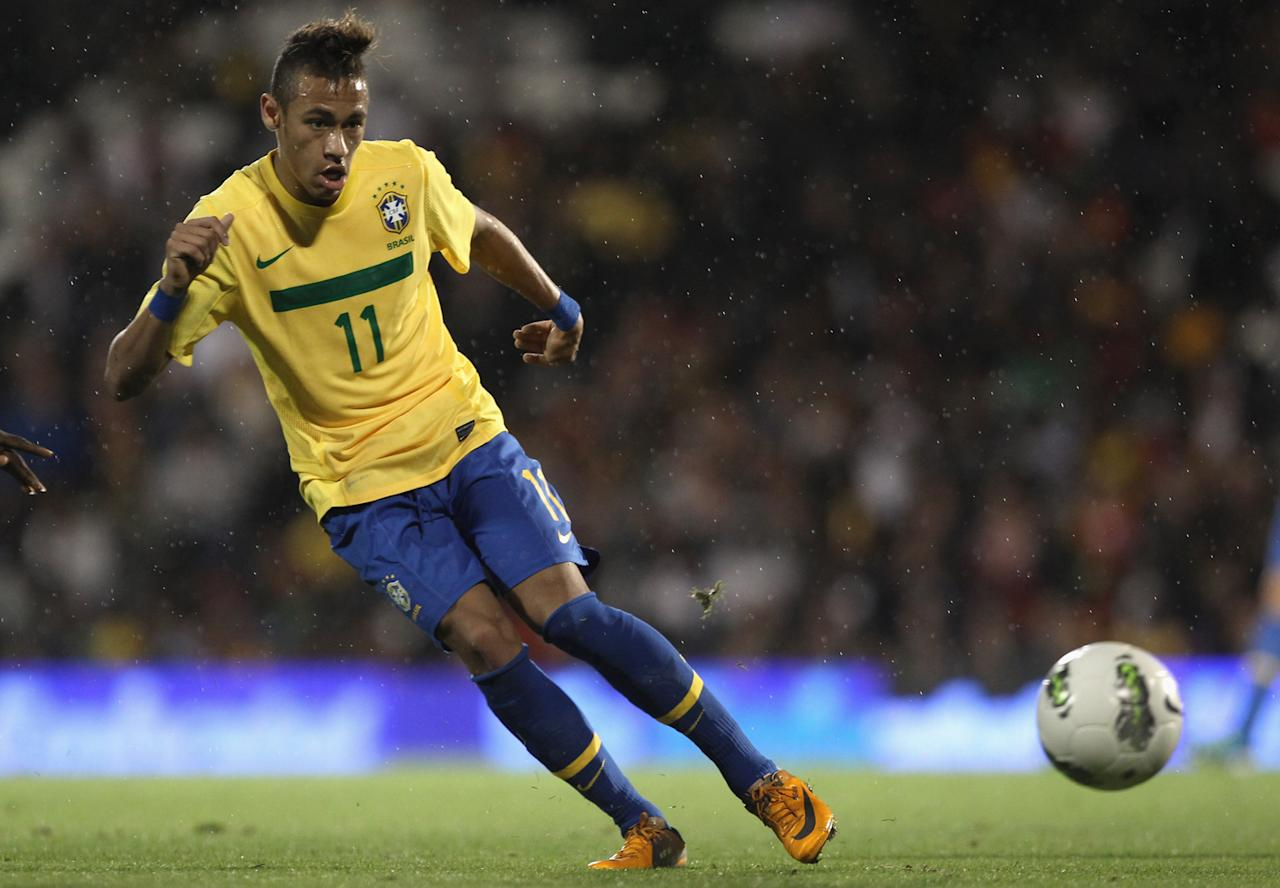 Neymar of Brazil in action during the International friendly match between Brazil and Ghana at Craven Cottage on September 5, 2011 in London, England.