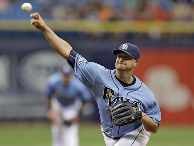 Tampa Bay Rays starting pitcher Alex Cobb delivers to the Boston Red Sox during the first inning of a baseball game Sunday, Aug. 31, 2014, in St. Petersburg, Fla. (AP Photo/Chris O'Meara)
