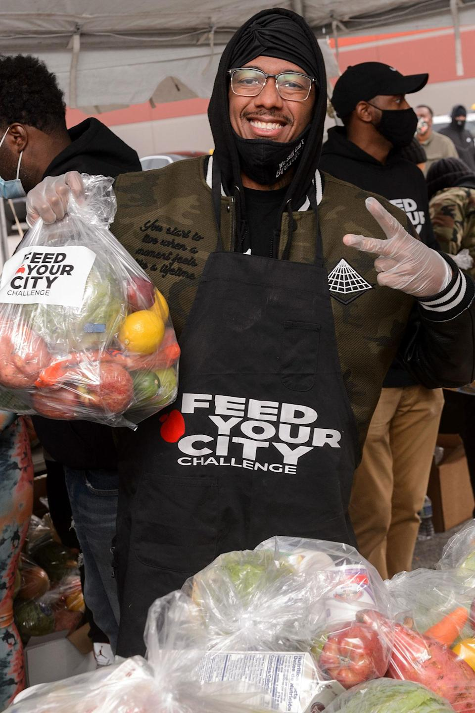 <p>Nick Cannon attended the Feed Your City Challenge COVID-19 relief event in Chicago.</p>