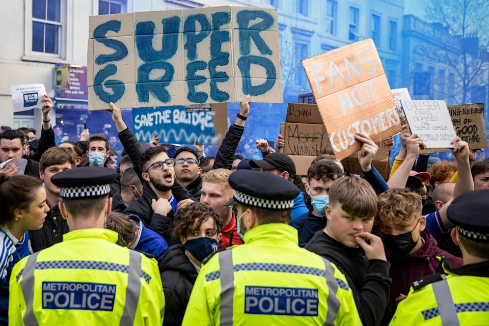 <p>Fans protest The Super League outside Chelsea's Stamford Bridge ground</p> (Getty Images)