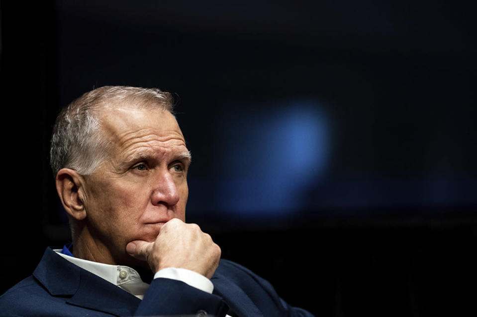 """FILE - In this June 11, 2020 file photo, Sen. Thom Tillis, R-N.C., attends a Senate Judiciary Committee business meeting to consider authorization for subpoenas relating to the Crossfire Hurricane investigation, and other matters on Capitol Hill in Washington. Tillis said on Friday, Aug. 28,  he """"fell short of my own standard"""