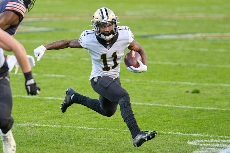 CHICAGO, IL - NOVEMBER 01: New Orleans Saints wide receiver Deonte Harris (11) runs with the football in action during a game between the Chicago Bears and the New Orleans Saints on November 1st, 2020 at Soldier Stadium, in Chicago, IL. (Photo by Robin Alam/Icon Sportswire via Getty Images)