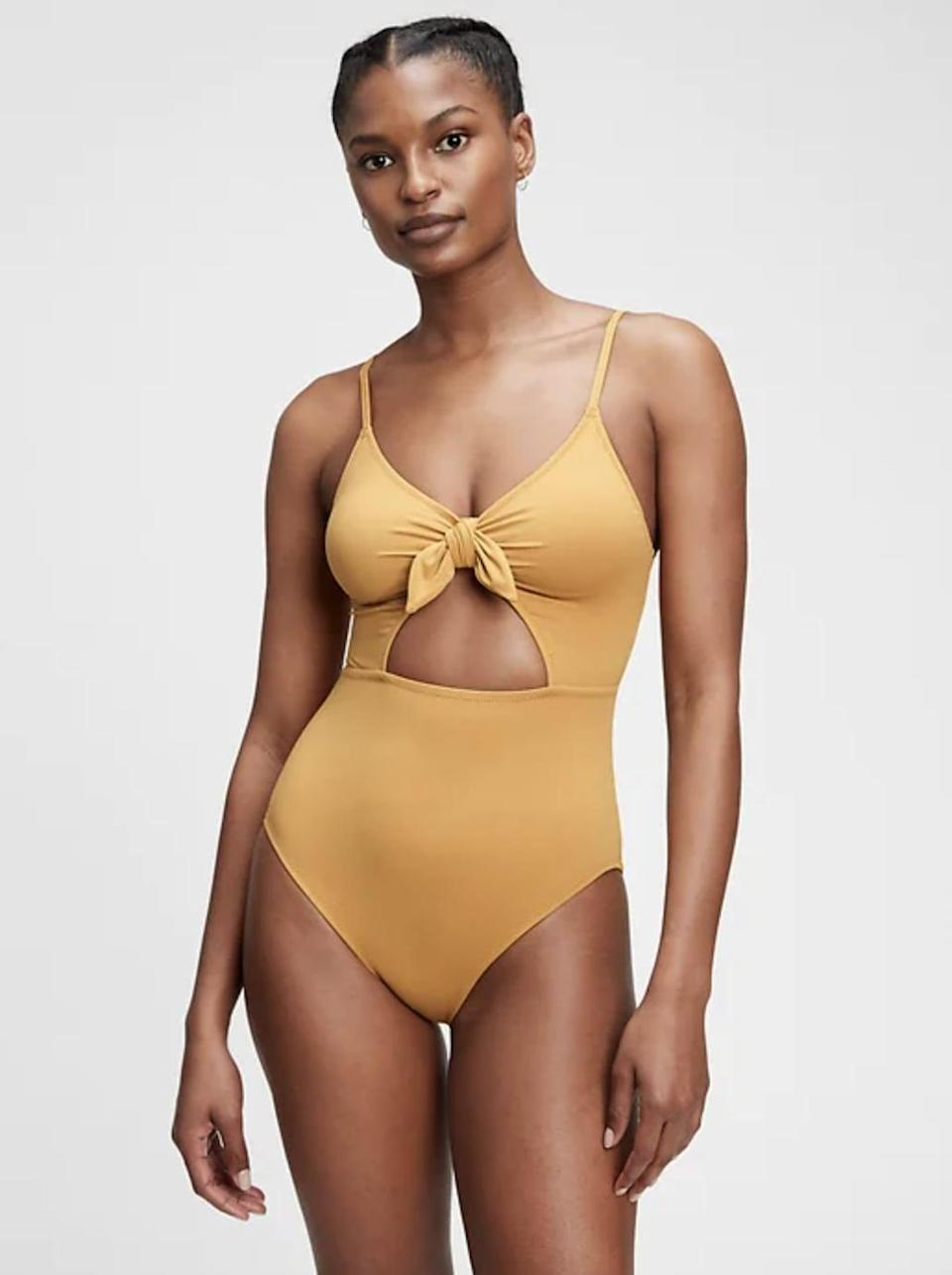 <p><span>Gap Recycled Tie-Front Cut Out Swim One-Piece</span> ($70)</p>