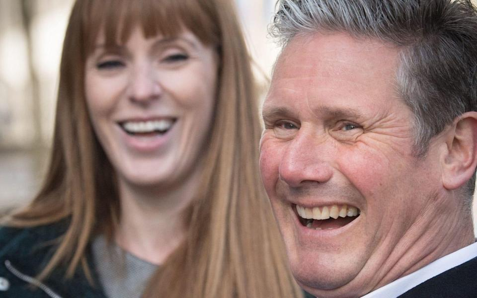 Labour leader Sir Keir Starmer (right) with Deputy Leader Angela Rayner during a visit to Birmingham, whilst on the election campaign trail. - Stefan Rousseau/PA Wire