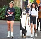 <p>Bike shorts are back with a vengeance and nothing makes that more clear than Emily Ratajkowski's nod to Princess Diana's casual workout outfit in 1995. The model mimicked Diana's look, pairing a cropped sweatshirt with black spandex and white sneakers to walk her dog in New York City in 2019. </p>