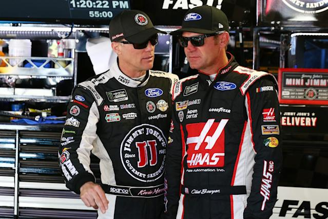 "<a class=""link rapid-noclick-resp"" href=""/nascar/sprint/drivers/205/"" data-ylk=""slk:Kevin Harvick"">Kevin Harvick</a> (L) and <a class=""link rapid-noclick-resp"" href=""/nascar/sprint/drivers/1119/"" data-ylk=""slk:Clint Bowyer"">Clint Bowyer</a> will be two of the drivers on the broadcast. (Getty)"