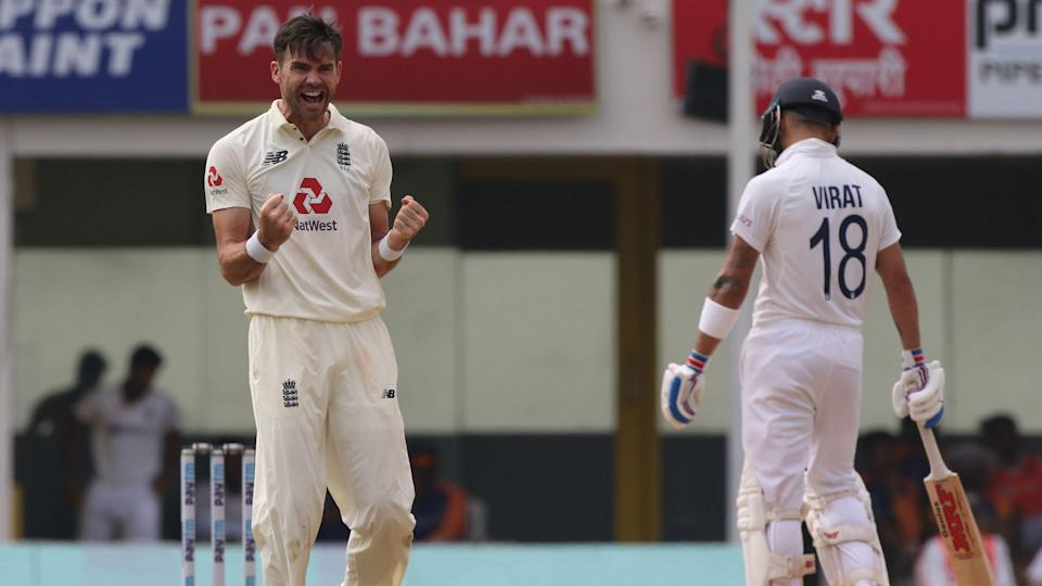 James Anderson celebrates a wicket against India in the Chennai Test.