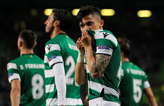 Soccer Football - Europa League Round of 16 First Leg - Sporting CP vs Viktoria Plzen - Estadio Jose Alvalade, Lisbon, Portugal - March 8, 2018 Sporting's Fredy Montero celebrates scoring their second goal REUTERS/Rafael Marchante