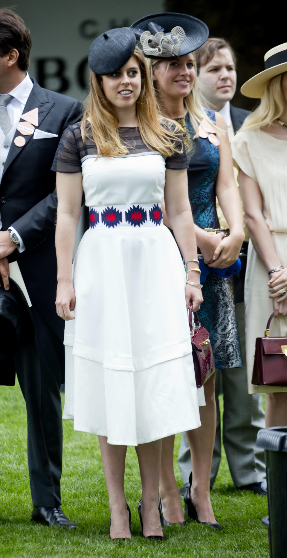 <p>Princess Beatrice wore a stylish cream dress by Amanda Wakeley and a simple hat for day five of Ascot 2017. <em>[Photo: Getty]</em> </p>