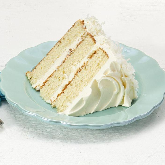 """<p>This gorgeous all-white cake reminds us of a winter wonderland. Best of all? There's delicious coconut flavor in every bite! </p><p><a href=""""https://www.thepioneerwoman.com/food-cooking/recipes/a35928796/coconut-layer-cake-recipe/"""" rel=""""nofollow noopener"""" target=""""_blank"""" data-ylk=""""slk:Get Ree's recipe."""" class=""""link rapid-noclick-resp""""><strong>Get Ree's recipe.</strong></a></p>"""