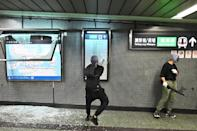 Hardcore protesters returned to the streets, vandalising store fronts, blocking roads in multiple areas and trashing two subway stations on October 7, 2019