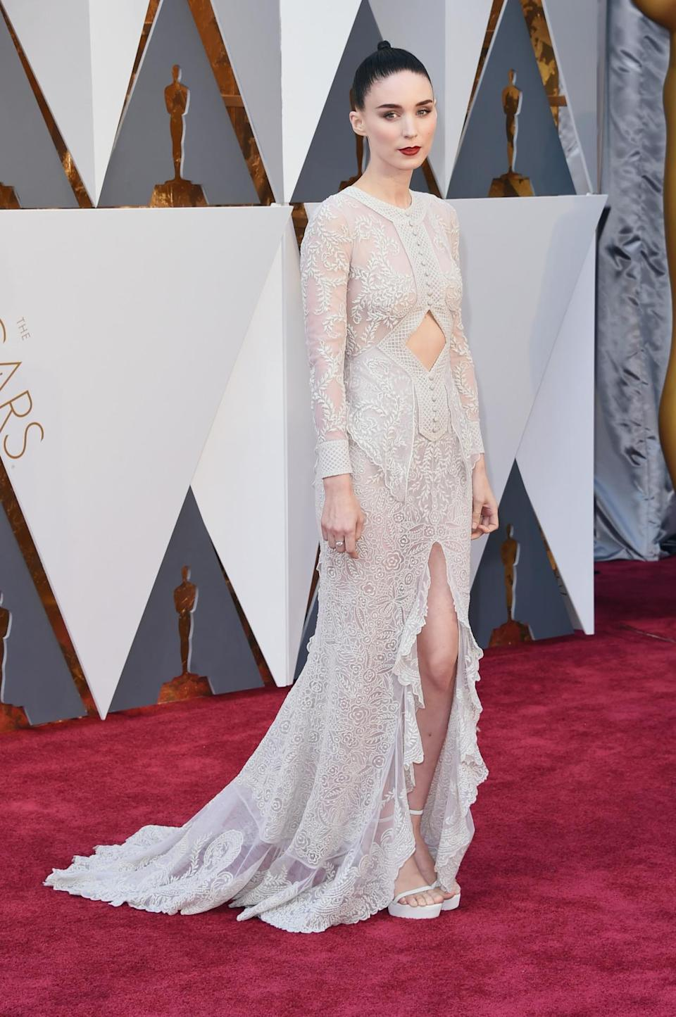 <p>Mara, 30, has stayed relatively quiet since her star turn in 2011's <i>The Girl with the Dragon Tattoo</i>, but her role in 2015's <i>Carol</i> brought her back to the red carpet and, of course, into the fashion industry's adoring gaze. It takes <i>cojones </i>to bare your midriff on Hollywood's biggest night, and Mara undoubtedly has them. Let's hope her next red carpet hiatus doesn't last a full four years. <i>(Photo: Getty)</i></p>