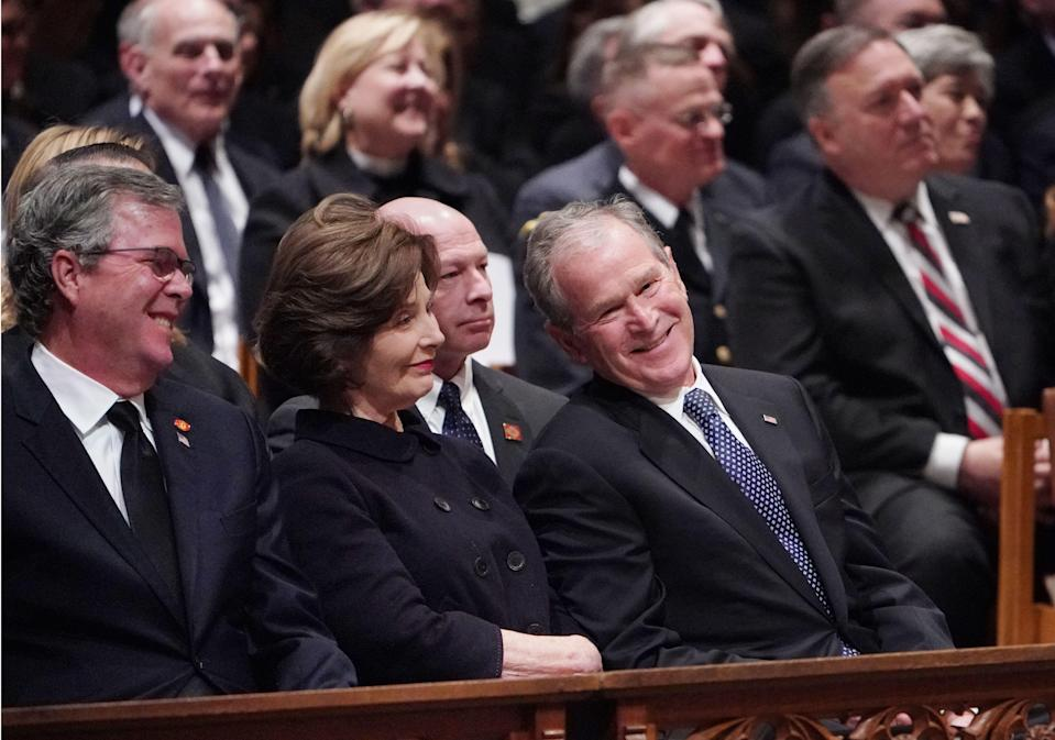 Former President George W. Bush(R), former first lady Laura Bush and Jeb Bush (L) attend the funeral service for former president George H. W. Bush at the National Cathedral in Washington, D.C. on Dec. 5, 2018. (Photo: Mandel Ngan/AFP/Getty Images)