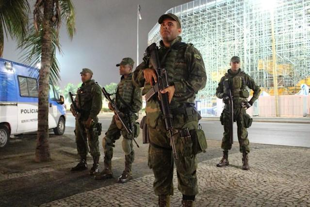 """<span class=""""caption"""">Military police on patrol outside an Olympic venue in Copacabana, near a major prostitution zone.</span> <span class=""""attribution""""><span class=""""source"""">Amanda De Lisio, Bournemouth University</span></span>"""
