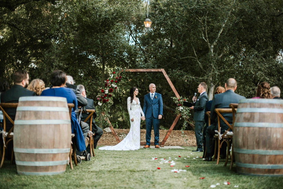 This photo shows the wedding of Renee and Ryan McCarthy in March 2019 at Temecula Creek Inn in Temecula, Calif. The couple had 24 guests, feeding a trend toward micro weddings that has grown stronger since the coronavirus pandemic sent millions into isolation. (Monique Bianca Photography via AP)