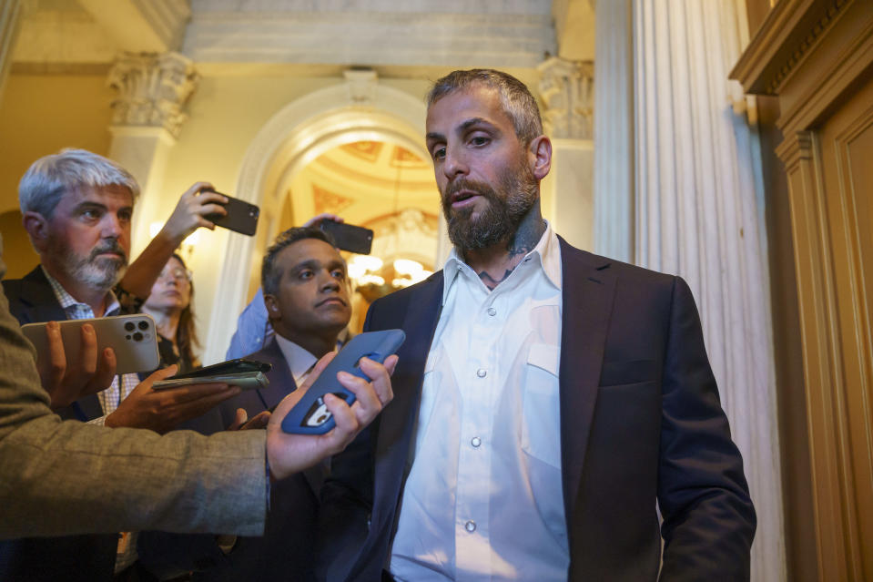 Michael Fanone, a Washington Metropolitan Police officer who was attacked and beaten during the Jan. 6, attack on the Capitol, speaks to reporters as he leaves a meeting with House Minority Leader Kevin McCarthy, R-Calif., at the Capitol in Washington, Friday, June 25, 2021. House Speaker Nancy Pelosi announced Thursday she's creating a special committee to investigate the attack by a mob of Trump supporters who sought to interrupt the certification of Joe Biden's presidential election victory. (AP Photo/J. Scott Applewhite)