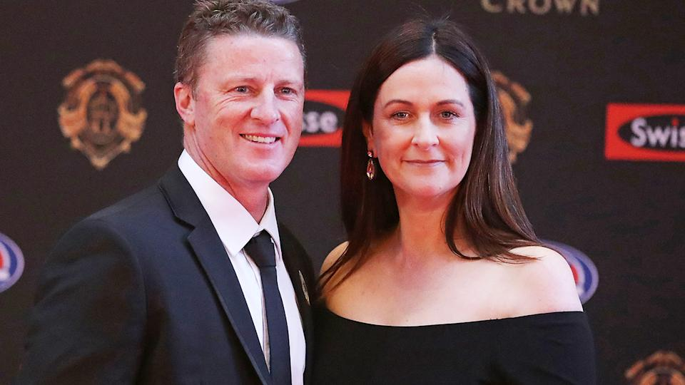 Damien and Danielle Hardwick, pictured here at the 2017 Brownlow Medal.