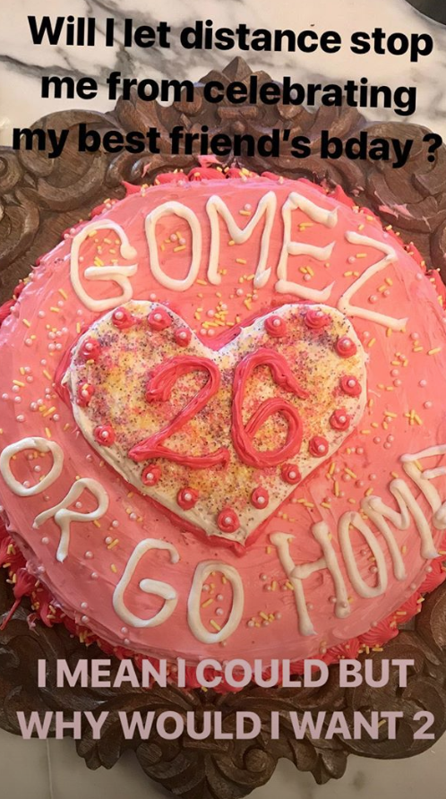 Swift baked this cake for Gomez's big day. (Photo: Taylor Swift via Instagram Stories)