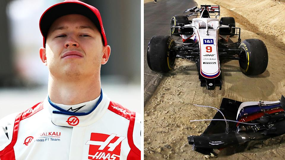 Haas F1 rookie Nikita Mazepin's lap one crash at the Bahrain GP prompted one rival to mock the Russian driver on Twitter. Pictures: Getty Images