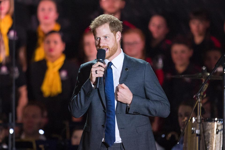 The Duke of Sussex speaks onstage at the Invictus Games 2018 opening ceremony (PA)