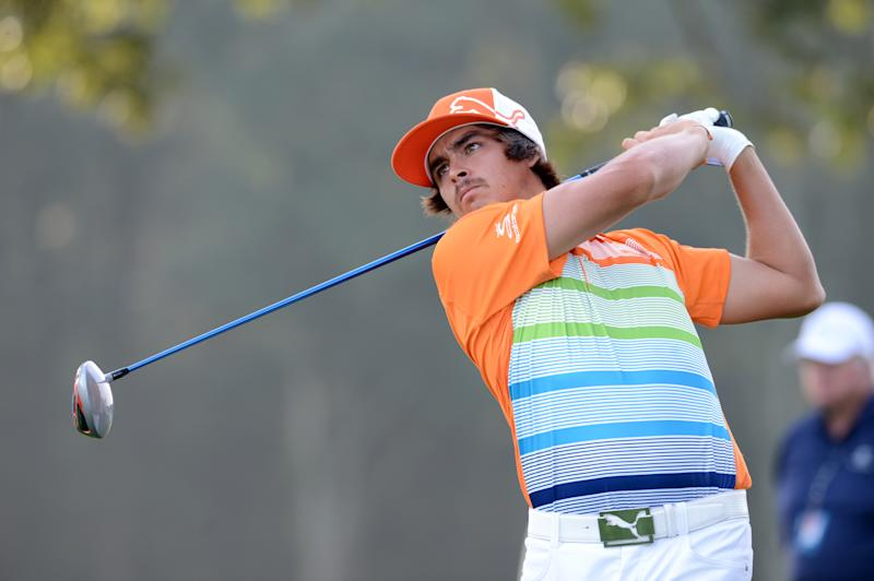Rickie Fowler tees off on the 10th hole during the second round of The Barclays golf tournament at Bethpage State Park in Farmingdale, N.Y., Friday, Aug. 24, 2012. (AP Photos/Henny Ray Abrams)