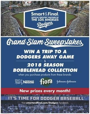 LOS ANGELES, April 3, 2019 – Smart & Final announces a winning lineup for their 2019 Grand Slam Sweepstakes as the Official Grocery Partner for the Los Angeles Dodgers. The in-store sweepstakes for Los Angeles-area stores kicks off April 3, 2019, with monthly grand prizes that are sure to excite Dodger fans including VIP ticket experiences and culminates with Season Tickets for Two for the 2020 season.
