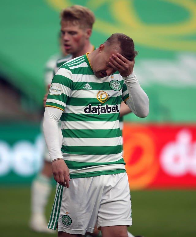 Leigh Griffiths holds his head in disappointment