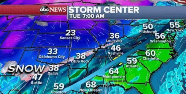 PHOTO: As the storm moves into Canada, the extended cold front will become quite powerful and stretch deep into the southern U.S. (ABC News)