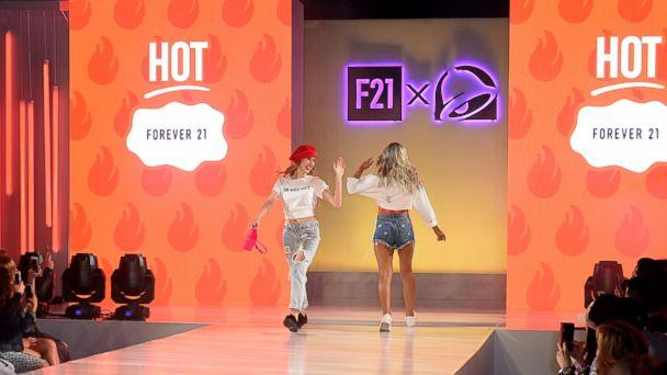 PHOTO: Models show two styles available in the new Forever 21, Taco Bell collaboration. (Regina Wu)