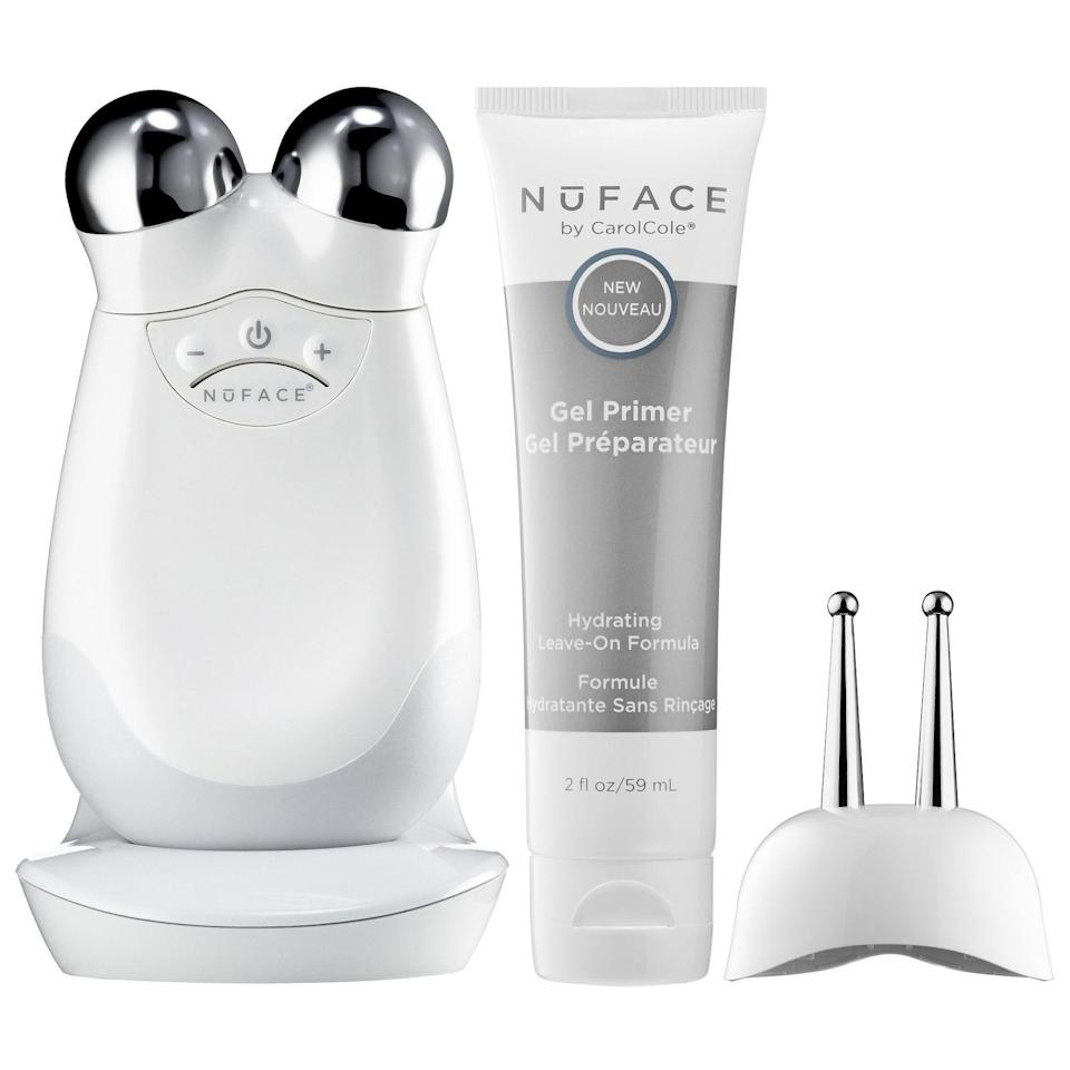 """<p><strong>NuFACE</strong></p><p>sephora.com</p><p><strong>$429.00</strong></p><p><a href=""""https://go.redirectingat.com?id=74968X1596630&url=https%3A%2F%2Fwww.sephora.com%2Fproduct%2Ftrinity-eye-lip-enhancer-attachment-bundle-P385320&sref=https%3A%2F%2Fwww.townandcountrymag.com%2Fstyle%2Fbeauty-products%2Fg35072678%2Fthe-weekly-covet-january-1-2021%2F"""" rel=""""nofollow noopener"""" target=""""_blank"""" data-ylk=""""slk:Shop Now"""" class=""""link rapid-noclick-resp"""">Shop Now</a></p><p>""""I'm a fan of any beauty treatment you can do while watching TV, and the NuFACE definitely falls into that category—I can easily binge Bridgerton while toning and lifting my face.""""—<em>Caroline Hallemann, Senior News Editor </em></p>"""