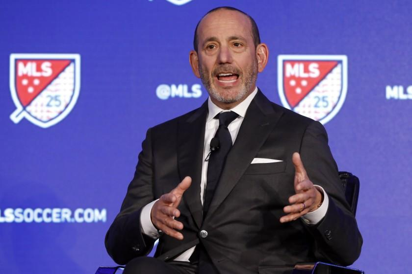 FILE - In this Feb. 26, 2020, file photo, Major League Soccer Commissioner Don Garbe.