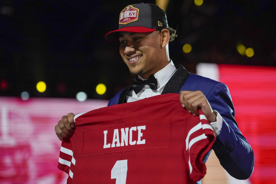Trey Lance could be used as a running threat early before he gets his starting shot with the 49ers. (AP Photo/Tony Dejak)