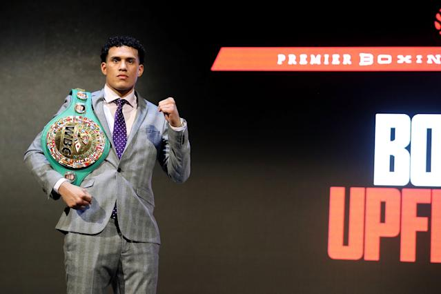 David Benavidez addresses the media during the 2018 Showtime Championship Boxing Event at Cipriani 42nd Street on Jan. 24, 2018 in New York City. (Getty Images)